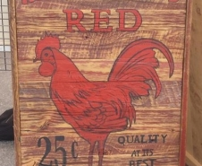 Red-Rooster-On-Red-Barn-Board