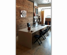 Reclaimed Barn Board Reception Desk with Waterfall Quartz