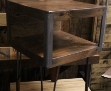 Wood And Steel Side Table