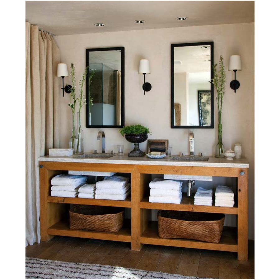 Small-Ceiling-Lamp-above-Casual-Pine-Bathroom-Vanity-under-Twin-Mirror-between-Wall-Lamps-on-Plain-Wall-Lamp-and-Nice-Carpet-on-Wooden-Floor